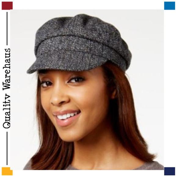 c5d242d7be11f NEW Nine West Wool Blend Tweed Flat Cap Black Gray
